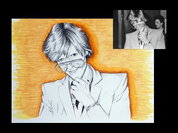 Ink portrait of David Bowie