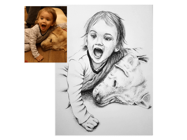 Ink portrait of child with pet