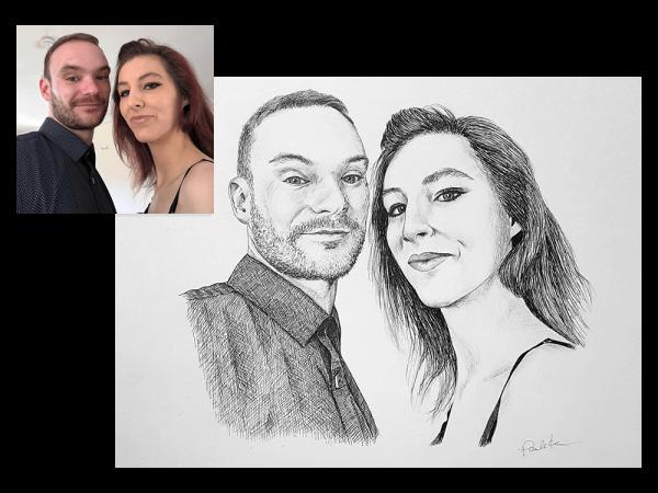 Ink portrait of a couple
