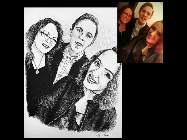 Family selfie ink portrait