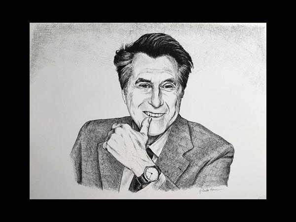 Ink portrait of Bryan Ferry