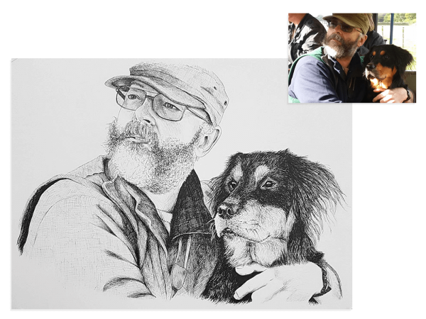 Ink portrait of man with his dog