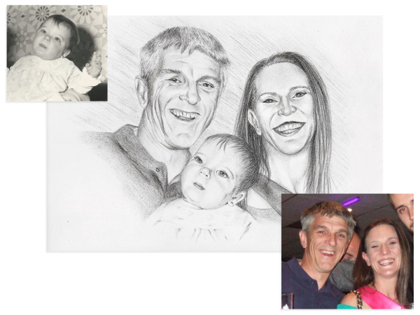 Family pencil portrait from two photos