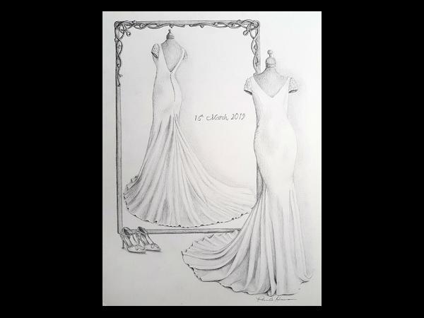Wedding dress pencil drawing