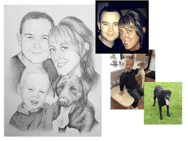 Family and pet pencil portrait from three different photos