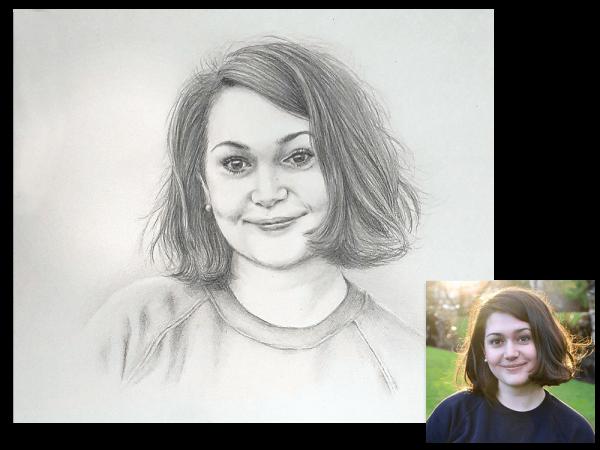 Pretty girl pencil portrait