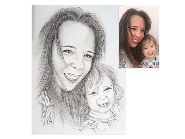 Mother and daughter pencil portrait