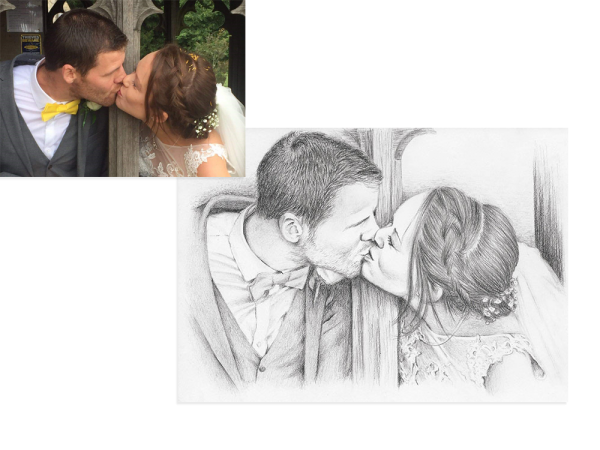 Wedding kiss pencil portrait