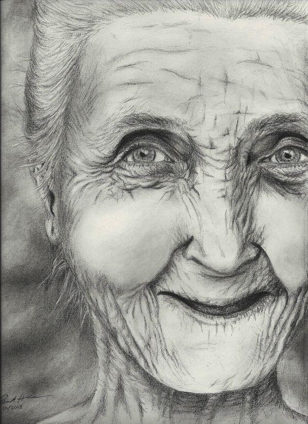 Old lady pencil sketch